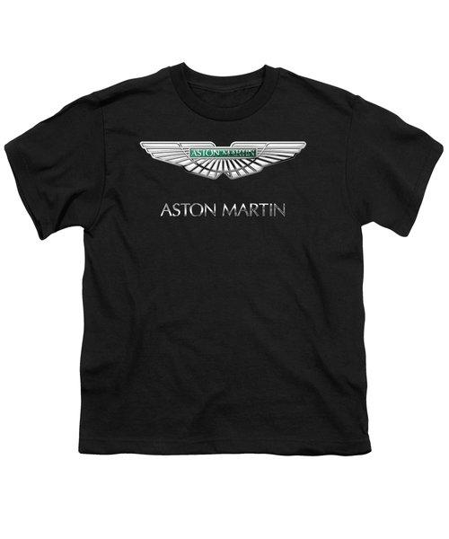 Aston Martin 3 D Badge On Black  Youth T-Shirt by Serge Averbukh