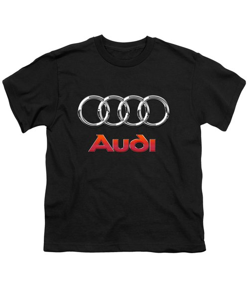 Audi 3 D Badge On Black Youth T-Shirt by Serge Averbukh