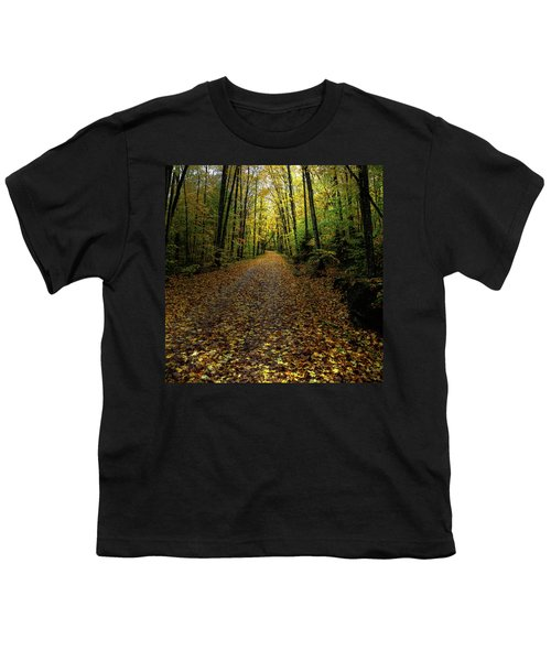 Youth T-Shirt featuring the photograph Autumn Leaves On The Trail by David Patterson