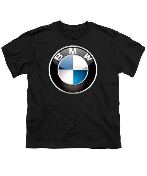 B M W  3 D Badge On Black Youth T-Shirt