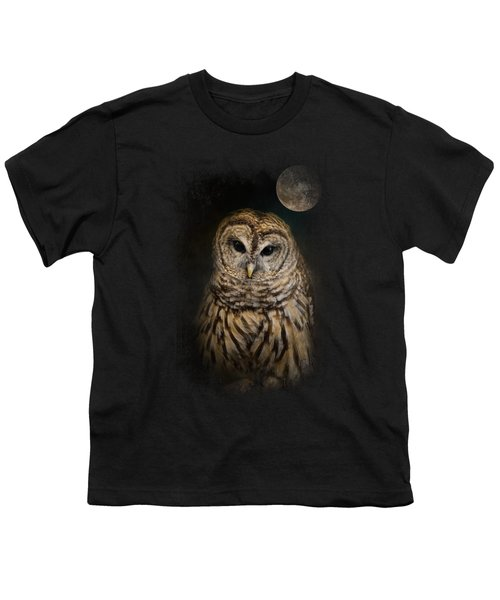 Barred Owl And The Moon Youth T-Shirt by Jai Johnson