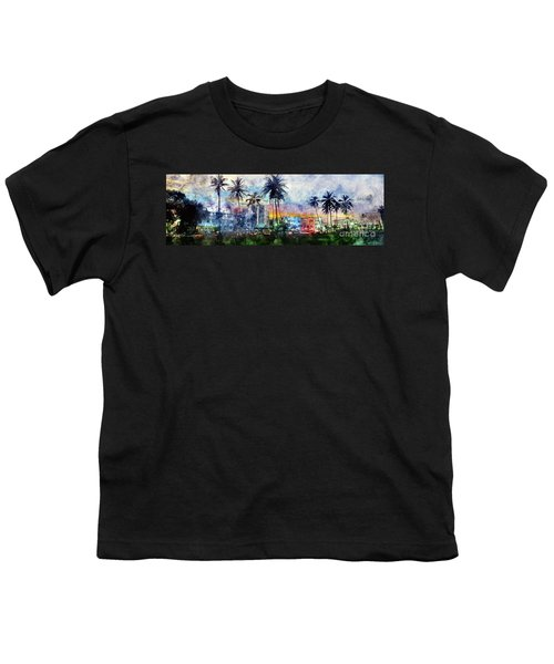 Beautiful South Beach Watercolor Youth T-Shirt by Jon Neidert