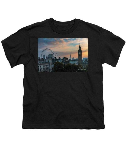 Big Ben Shard And London Eye Sunrise Youth T-Shirt by Mike Reid