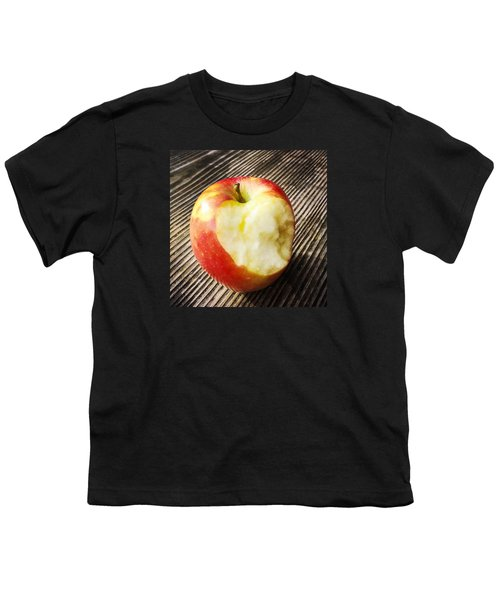 Bitten Red Apple Youth T-Shirt by Matthias Hauser