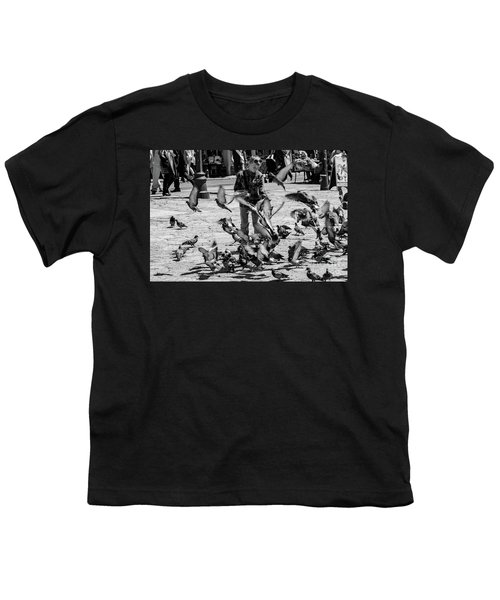 Black And White Of Boy Feeding Pigeons In Sarajevo, Bosnia And Herzegovina  Youth T-Shirt