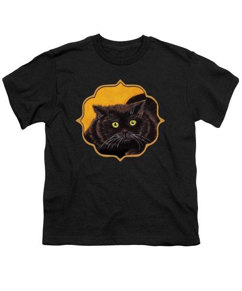 Black Cat Youth T-Shirt by Anastasiya Malakhova