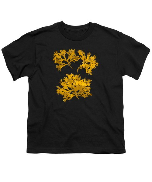 Black Gold Leaf Pattern Youth T-Shirt by Christina Rollo
