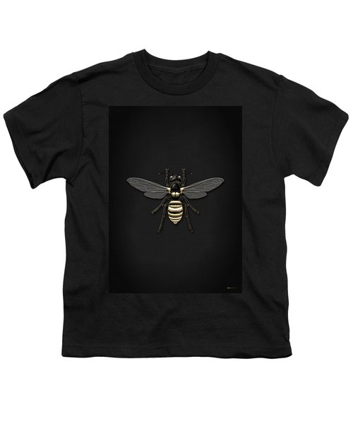 Black Wasp With Gold Accents On Black  Youth T-Shirt by Serge Averbukh
