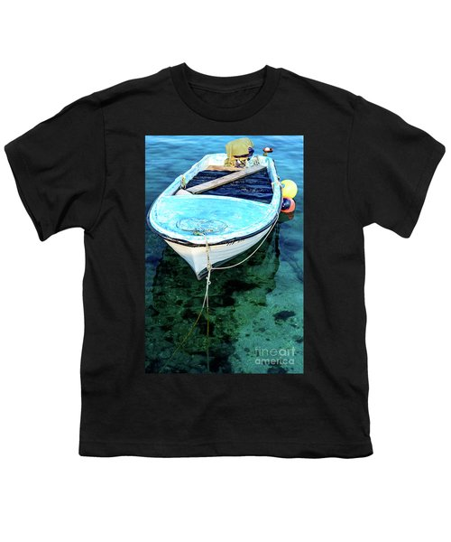 Blue And White Fishing Boat On The Adriatic - Rovinj, Croatia Youth T-Shirt