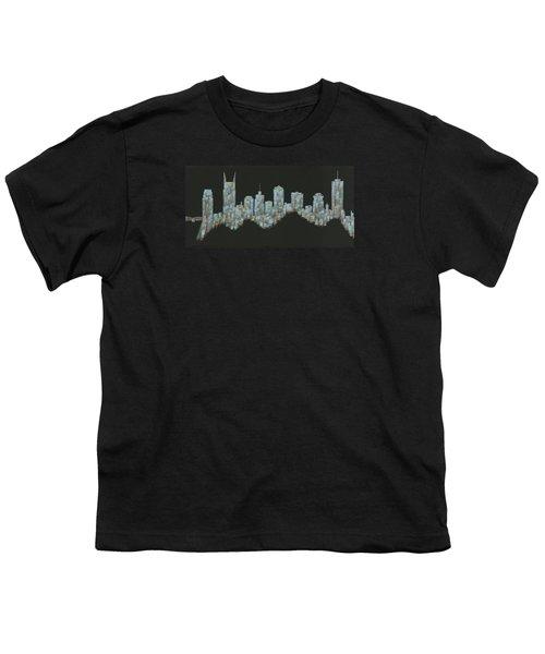 Blue Floating Nashville Skyline Youth T-Shirt by Helen Prater