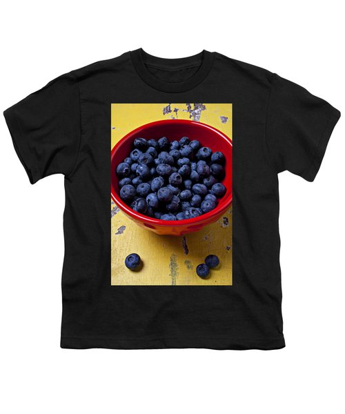 Blueberries In Red Bowl Youth T-Shirt
