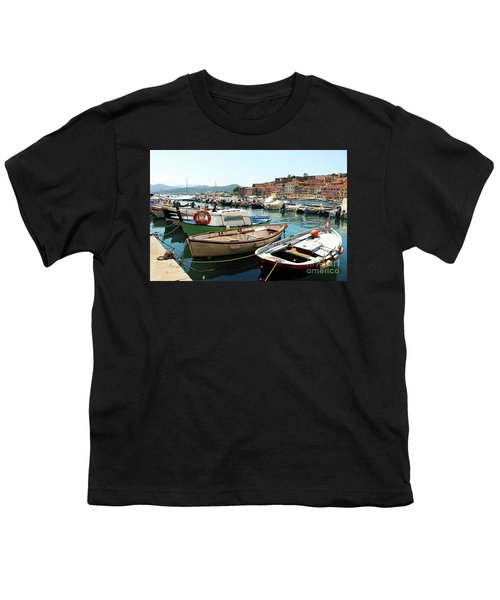 Youth T-Shirt featuring the photograph Boats In The Harbour by MGL Meiklejohn Graphics Licensing