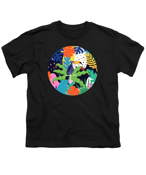 Bold Tropical Jungle Abstraction With Toucan Memphis Style Youth T-Shirt