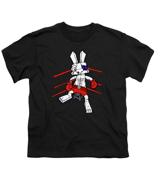 Boxer Bunny Youth T-Shirt by Bizarre Bunny