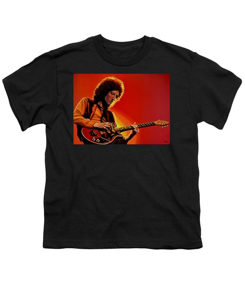 Brian May Of Queen Painting Youth T-Shirt by Paul Meijering
