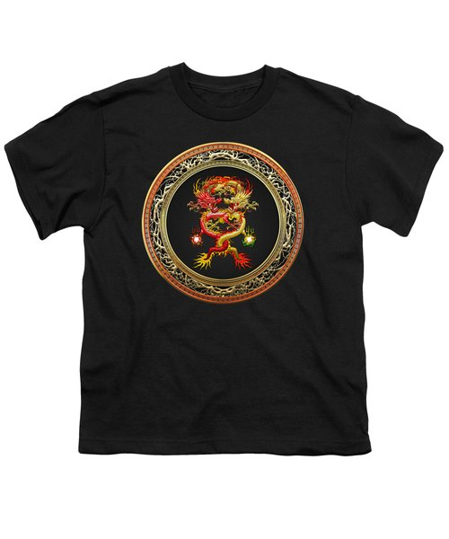 Brotherhood Of The Snake - The Red And The Yellow Dragons On Black Velvet Youth T-Shirt by Serge Averbukh