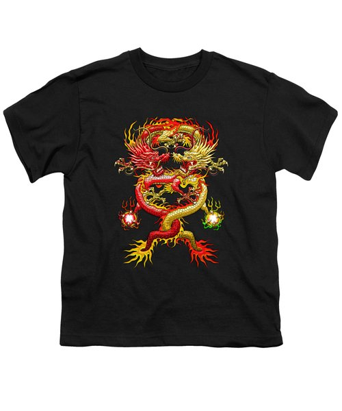 Brotherhood Of The Snake - The Red And The Yellow Dragons On Red And Black Leather Youth T-Shirt by Serge Averbukh