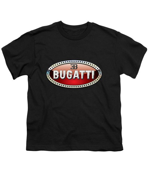 Bugatti - 3 D Badge On Black Youth T-Shirt by Serge Averbukh