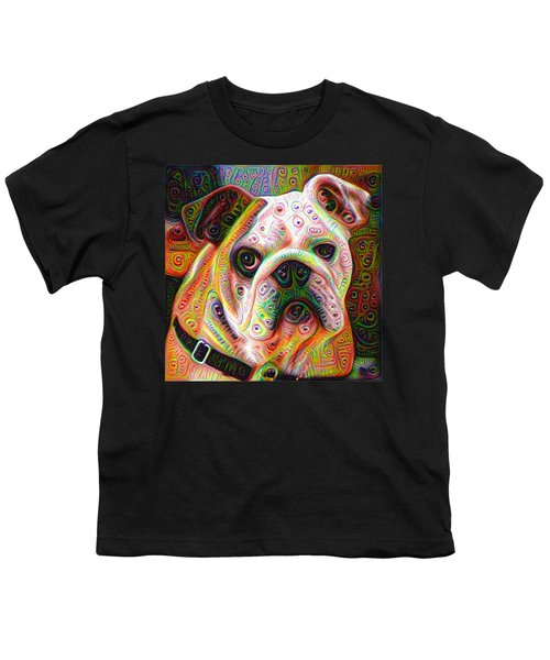 Bulldog Surreal Deep Dream Image Youth T-Shirt