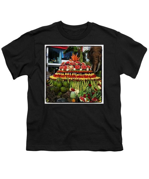 Youth T-Shirt featuring the photograph Carved Watermelon, Surin Elephant by Mr Photojimsf