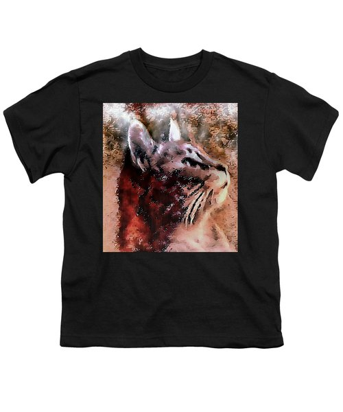 Cat Watching Falling Rain Youth T-Shirt
