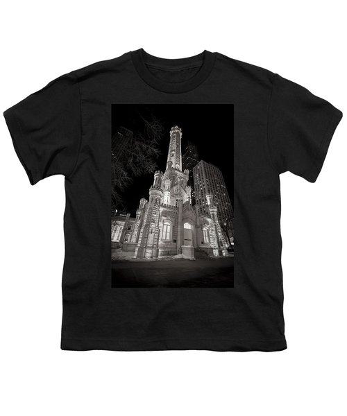 Chicago Water Tower Youth T-Shirt by Adam Romanowicz
