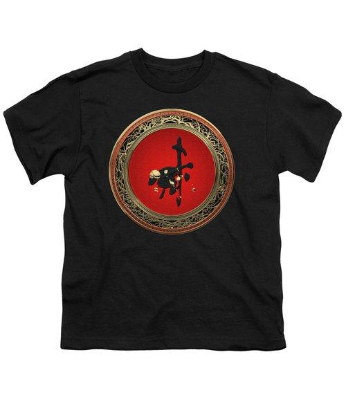 Chinese Zodiac - Year Of The Goat On Black Velvet Youth T-Shirt