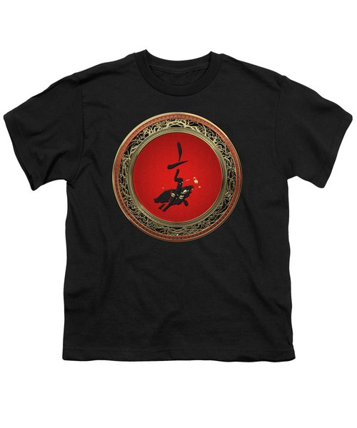 Chinese Zodiac - Year Of The Pig On Black Velvet Youth T-Shirt
