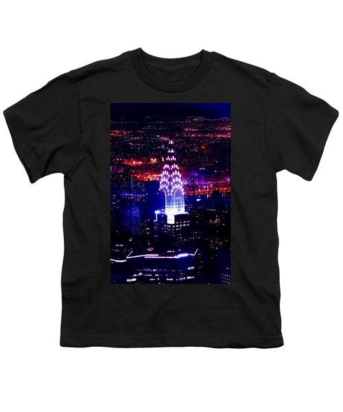 Chrysler Building At Night Youth T-Shirt by Az Jackson