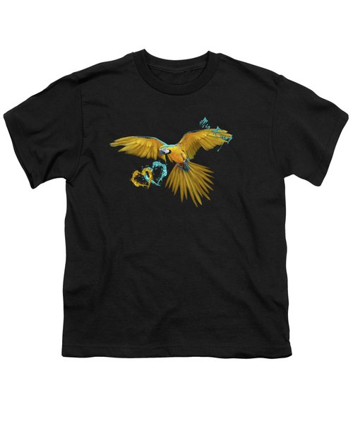 Colorful Blue And Yellow Macaw Youth T-Shirt by iMia dEsigN