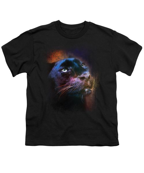 Colorful Expressions Black Leopard Youth T-Shirt by Jai Johnson