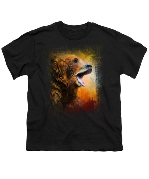 Colorful Expressions Grizzly Bear 2 Youth T-Shirt by Jai Johnson