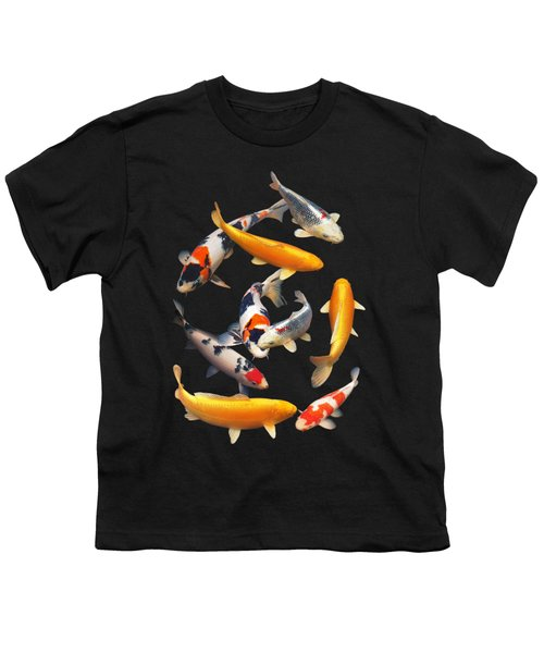 Colorful Japanese Koi Vertical Youth T-Shirt