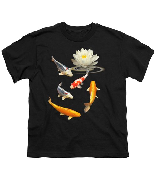 Colorful Koi With Water Lily Youth T-Shirt