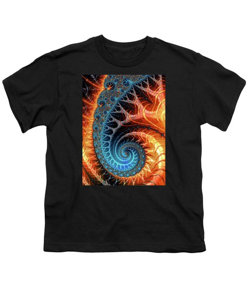 Colorful Luxe Fractal Spiral Turquoise Brown Orange Youth T-Shirt by Matthias Hauser