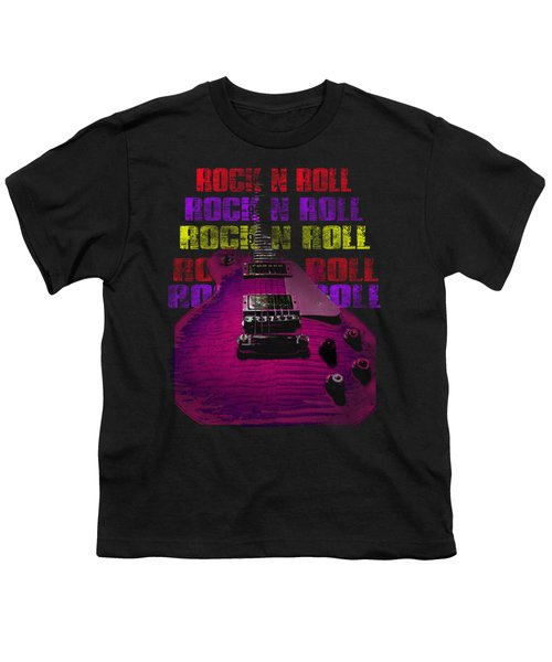 Youth T-Shirt featuring the photograph Colorful Music Rock N Roll Guitar Retro Distressed T-shirt by Guitar Wacky