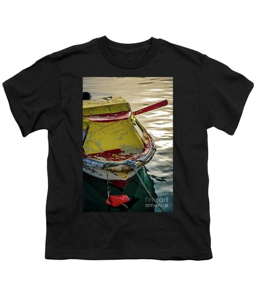 Colorful Old Red And Yellow Boat During Golden Hour In Croatia Youth T-Shirt