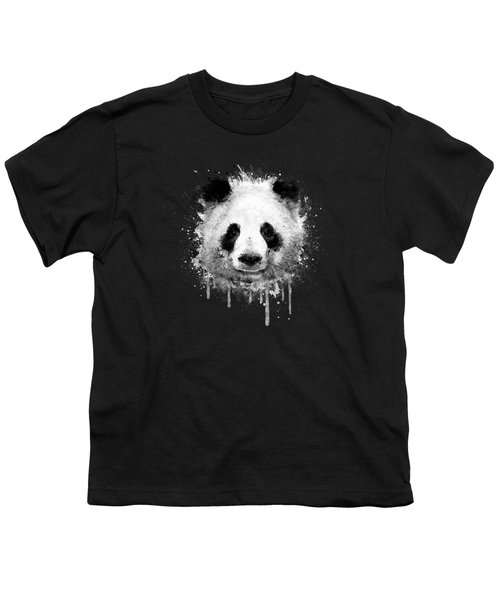 Cool Abstract Graffiti Watercolor Panda Portrait In Black And White  Youth T-Shirt