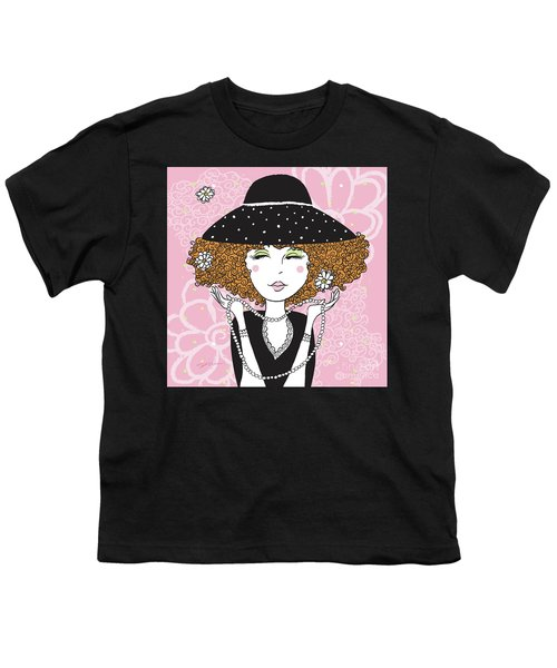 Curly Girl In Polka Dots Youth T-Shirt