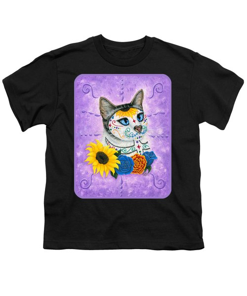 Day Of The Dead Cat Sunflowers - Sugar Skull Cat Youth T-Shirt