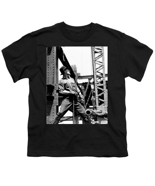 Derrick Man   Empire State Building Youth T-Shirt by LW Hine