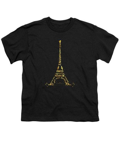 Digital-art Eiffel Tower - Black And Golden Youth T-Shirt by Melanie Viola