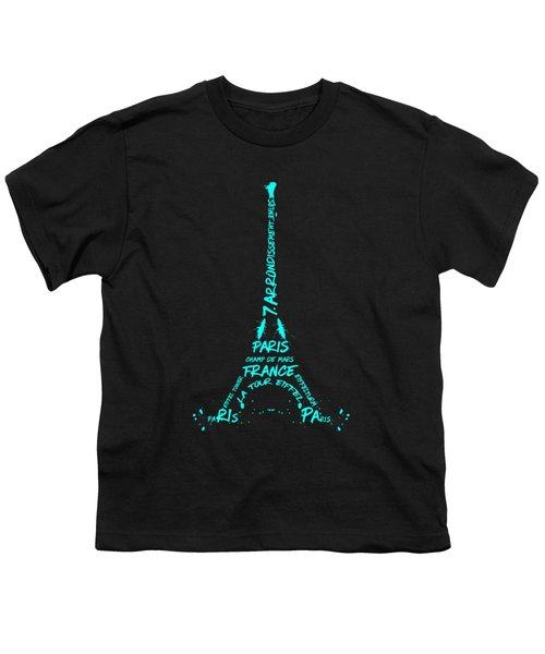 Digital-art Eiffel Tower Cyan Youth T-Shirt by Melanie Viola