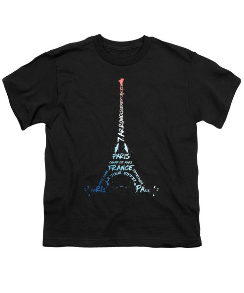 Digital-art Eiffel Tower National Colours Youth T-Shirt