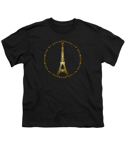 Eiffel Tower Gold Glitter Sparkles On Black Youth T-Shirt