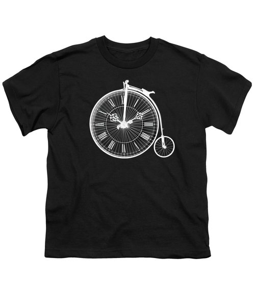 Evening Ride Penny Farthing On Black Youth T-Shirt