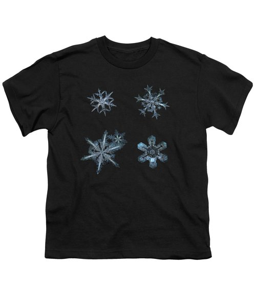 Five Snowflakes On Black 3 Youth T-Shirt by Alexey Kljatov