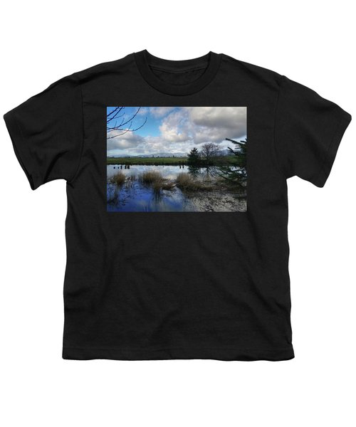 Flooding River, Field And Clouds Youth T-Shirt