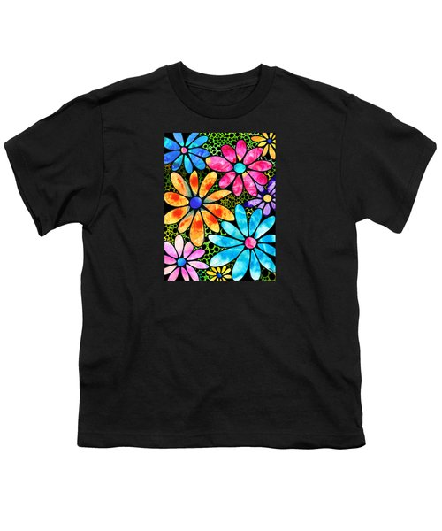 Floral Art - Big Flower Love - Sharon Cummings Youth T-Shirt by Sharon Cummings