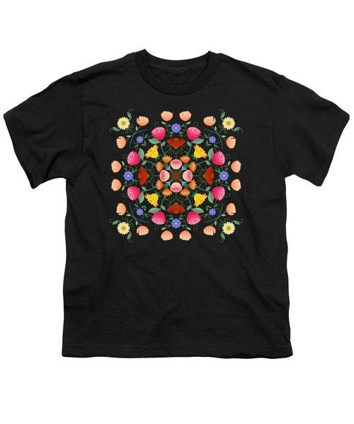 Folk Art Inspired Garden Of Fantastic Floral Delight Youth T-Shirt